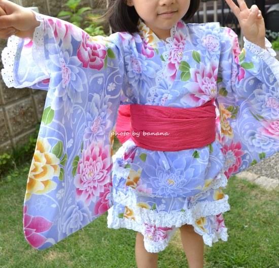 サイズ調整のできる女の子浴衣
